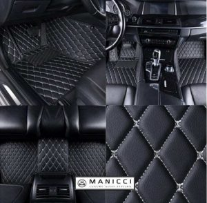 Manicci Luxury Leather Car Floor Mats Black with white 4 in 1