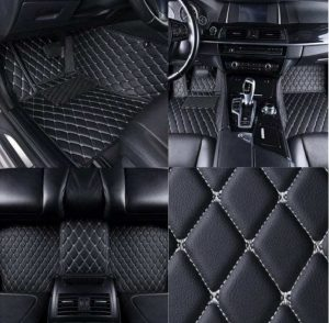 Manicci Luxury Leather Car Floor Mats Black with white