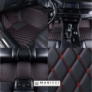 Manicci Luxury Leather Car Floor Mats Black with red