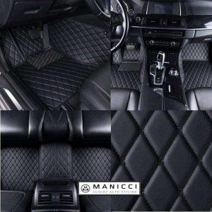 Manicci Luxury Leather Car Floor Mats Black with black