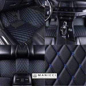 Manicci Luxury Leather Car Floor Mats Black with blue