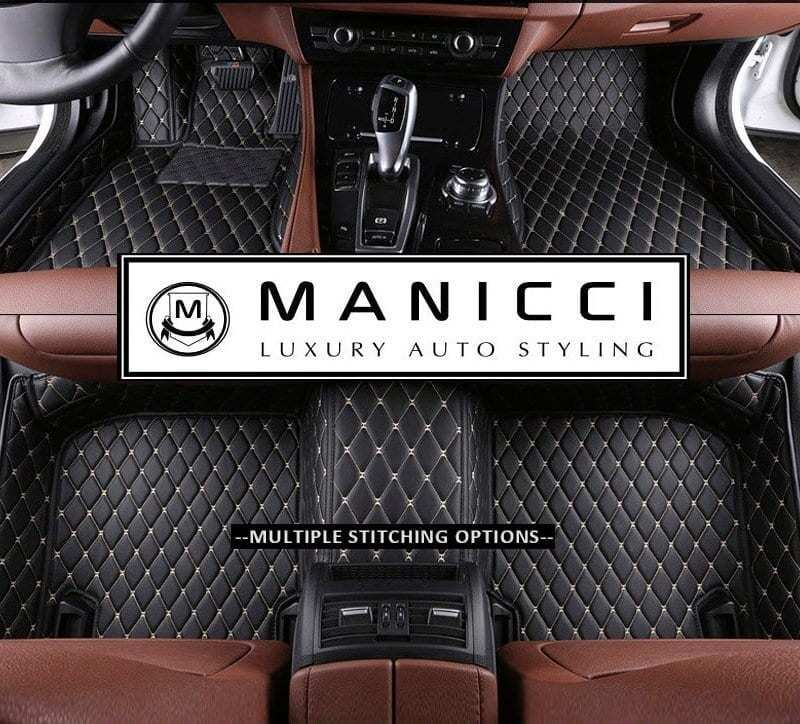 manicci luxury leather car mats black-beige