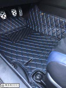 Manicci luxury car mats blue stitching