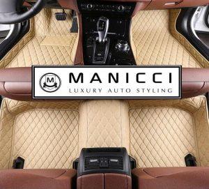 Manicci Luxury Leather Custom Fitted Car Floor Mats Beige