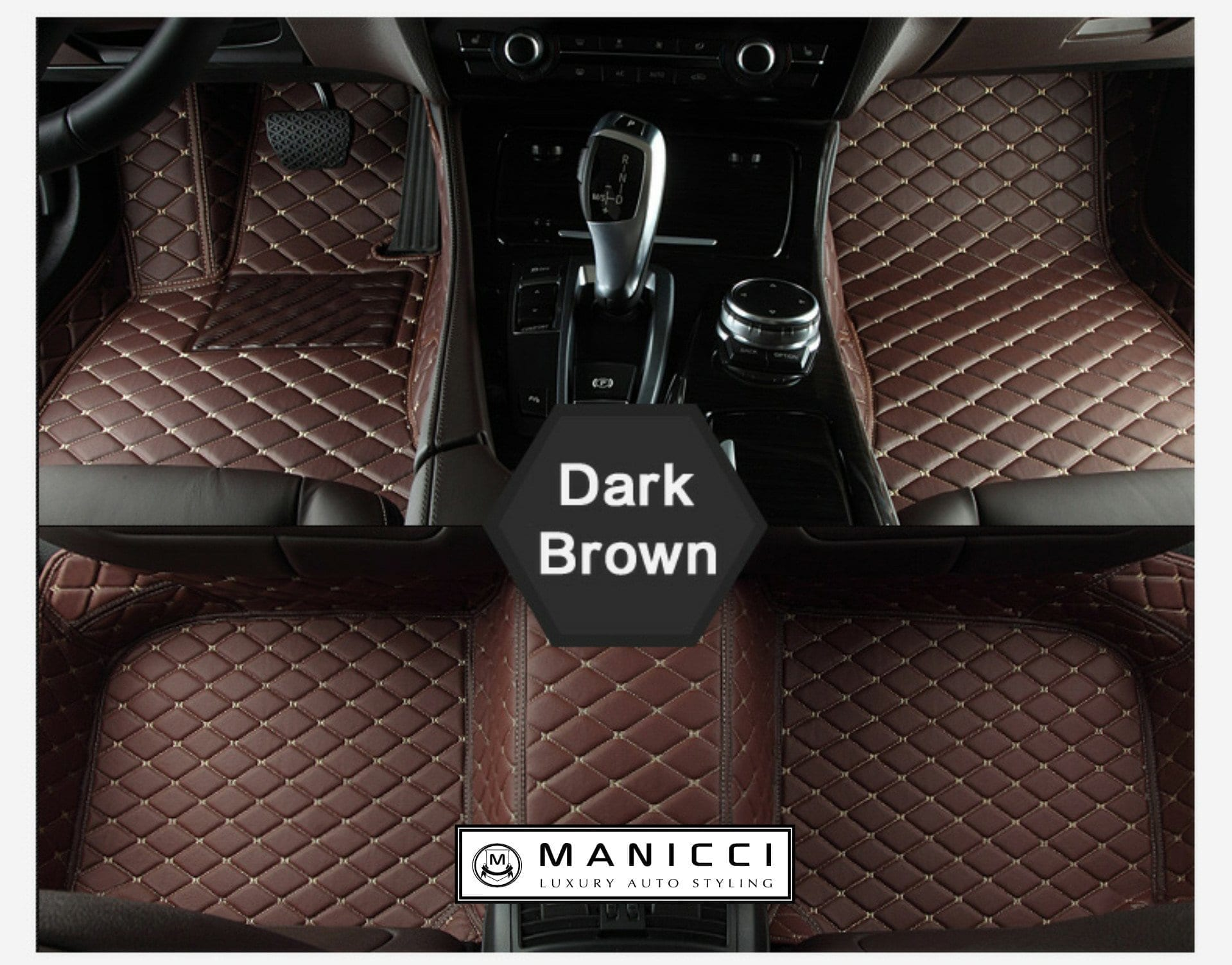 Floor mats dream cars - Dark Brown Diamond Stitch