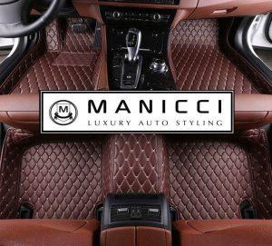 Manicci Luxury Leather Car Floor Mats Dark Brown