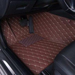 Manicci Luxury Leather Custom Fitted Car Floor Mats Dark Brown Driver