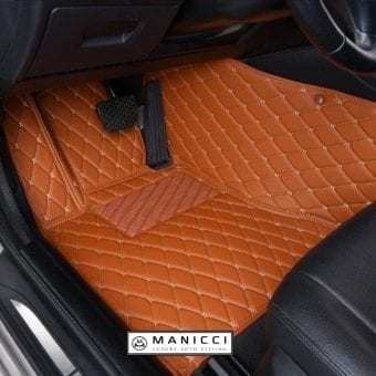Manicci Luxury Leather Car Floor Mats Brown