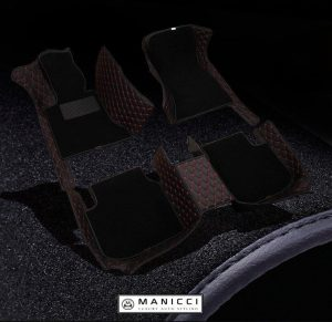 Black with red Premium Manicci Luxury Leather Custom Fitted Car Floor Mats 2.0