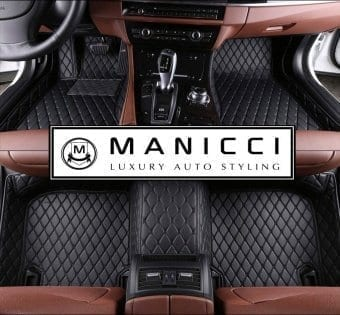 Black with black Premium Manicci Luxury Leather Custom Fitted Car Floor Mats 2.0