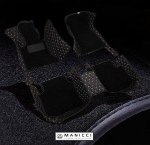Black Premium Manicci Luxury Leather Custom Fitted Car Floor Mats 2.0