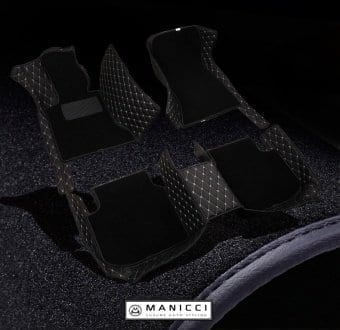 Black Premium Manicci Luxury Leather Custom Fitted Car Floor Mats 2.0