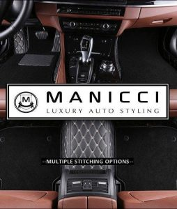 Premium Manicci Luxury Leather Custom Fitted Car Floor Mats 2.0 Black Diamond