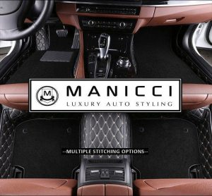 Premium Manicci Luxury Leather Custom Fitted Car Floor Mats 2.0 Black Diamond