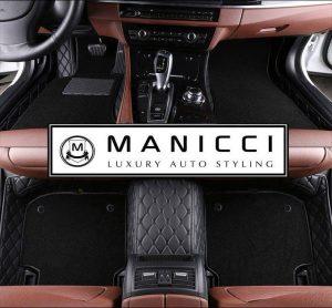 Black with black Premium Manicci Luxury Leather Custom Fitted Car Floor Mats 2.0