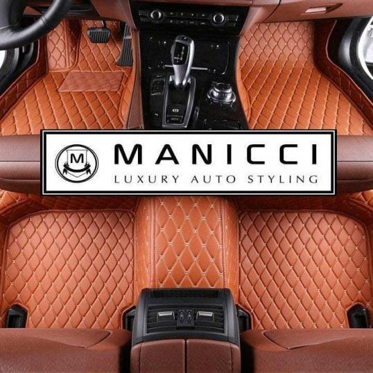 Manicci Luxury Leather Custom Fitted Car Floor Mats Brown