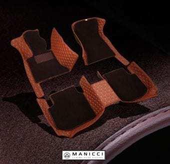 Premium Brown Luxury Leather Car Floor Mats