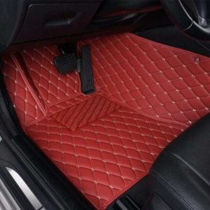 Manicci Luxury Leather Custom Fitted Car Floor Mats Red Driver