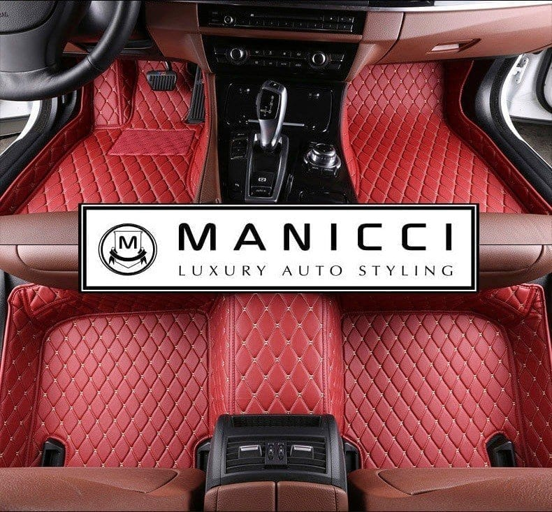luxury leather red car floor mats premium by Manicci
