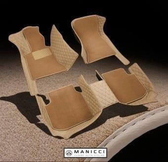 Premium Manicci Luxury Leather Car Floor Mats 2.0 Beige