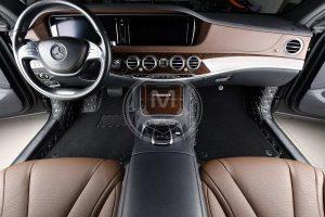 Manicci Luxury Car Floor Mats Premium black with white 2