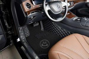 Manicci Luxury Car Floor Mats Premium black with white 3