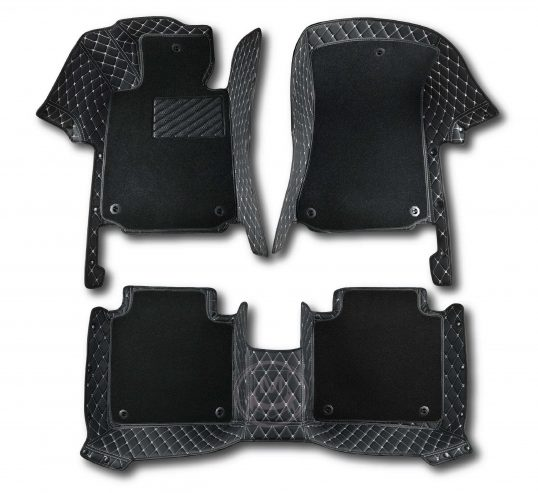 Manicci Luxury Car Floor Mats Premium black with white 6
