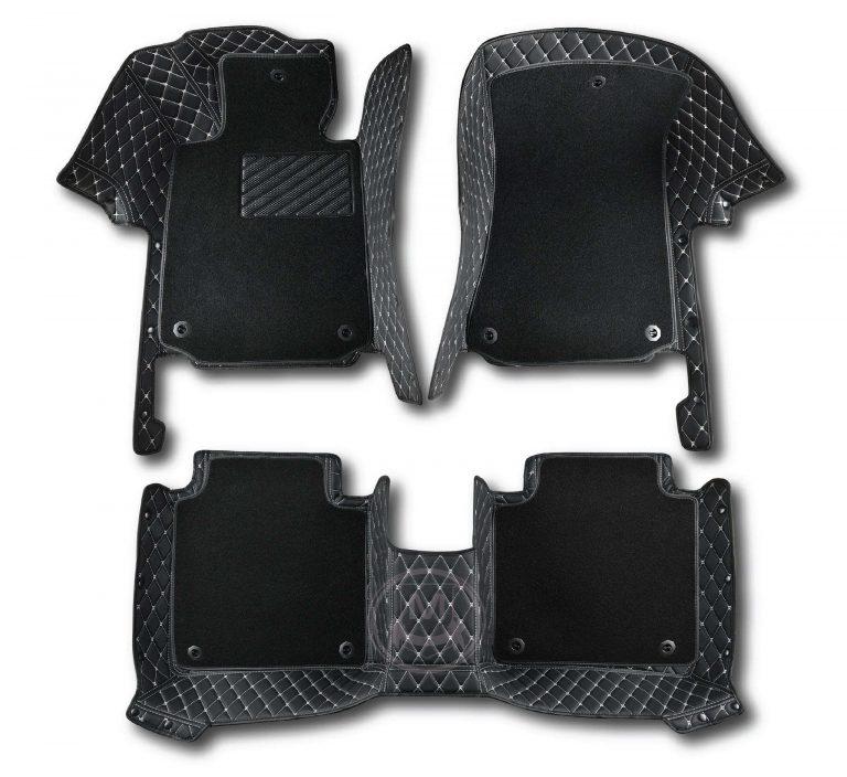 Manicci Luxury Car Floor Mats Premium black with white 6