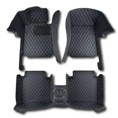 Manicci Luxury Car Floor Mats black with blue 1