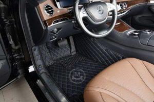 Manicci Luxury Car Floor Mats black with blue 4