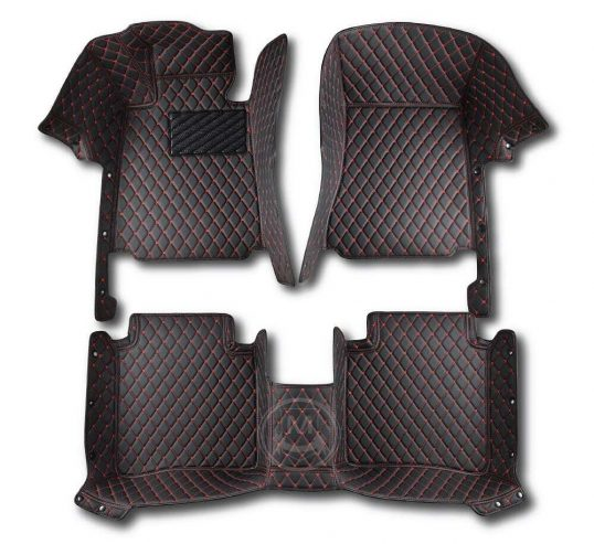 Manicci Luxury Car Floor Mats black with red 1