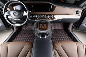Manicci Luxury Car Floor Mats black with red 2