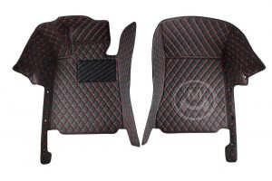 Manicci Luxury Car Floor Mats black with red 6