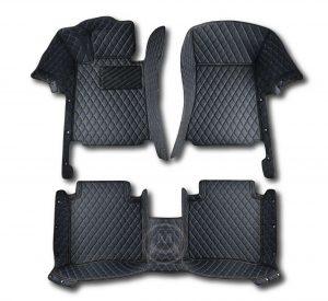 Manicci black with blue stitched luxury car floor mats 1