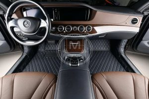 Manicci black with blue stitched luxury car floor mats 2