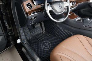 Manicci black with blue stitched luxury car floor mats 3