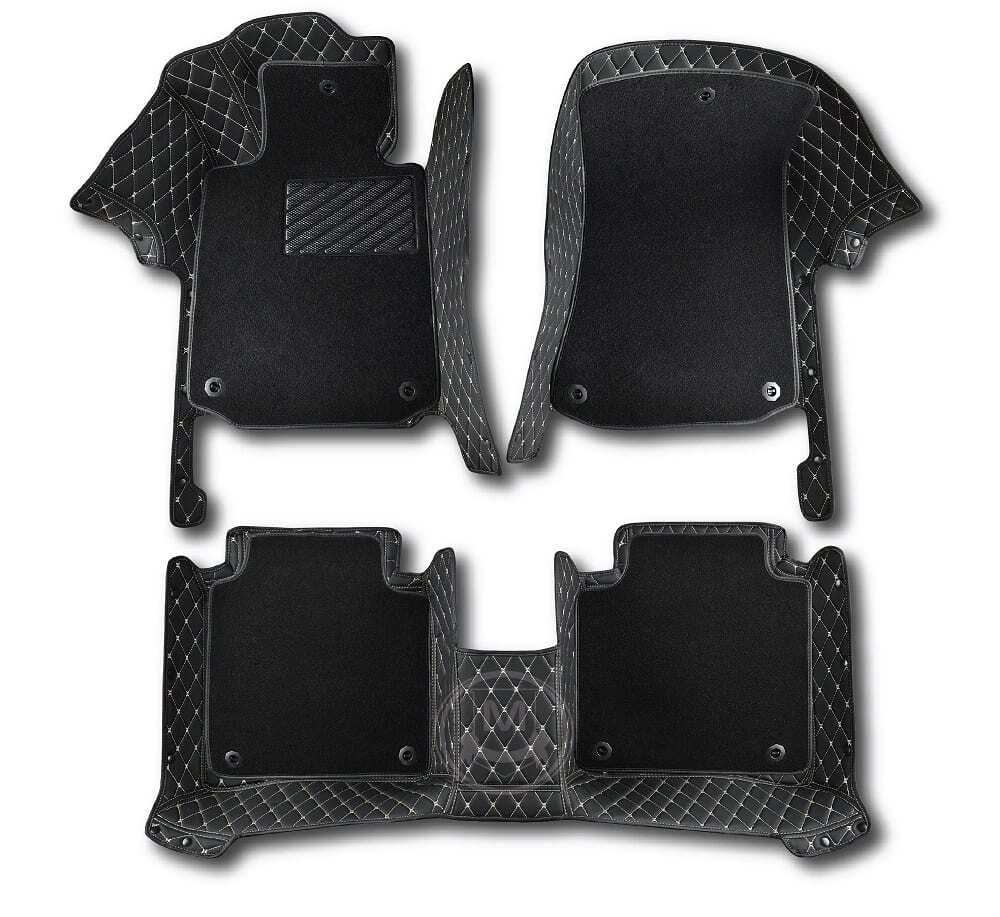Premium Manicci Luxury Car Floor Mats black with beige 6