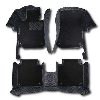 Premium Manicci Luxury Car Floor Mats black with blue 2 (2)