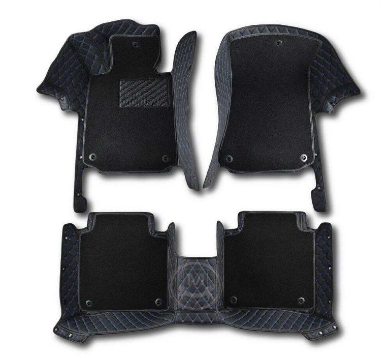 Premium Manicci Luxury Car Floor Mats black with blue 2 (2)