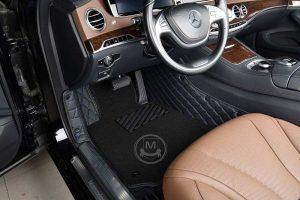 Premium Manicci Luxury Car Floor Mats black with blue 4