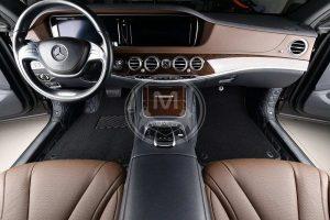 Premium Manicci Luxury Car Floor Mats black with blue 5