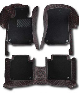 Premium Manicci Luxury Car Floor Mats black with red 6
