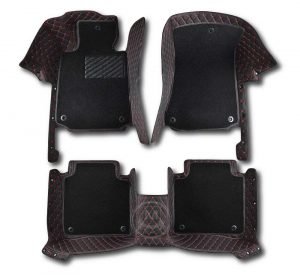 Premium Manicci Luxury Car Floor Mats black with red 6