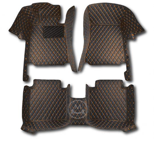 Black with Orange Luxury Custom Car Floor Mats 1