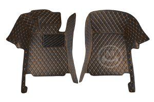 Black with Orange Luxury Custom Car Floor Mats 2