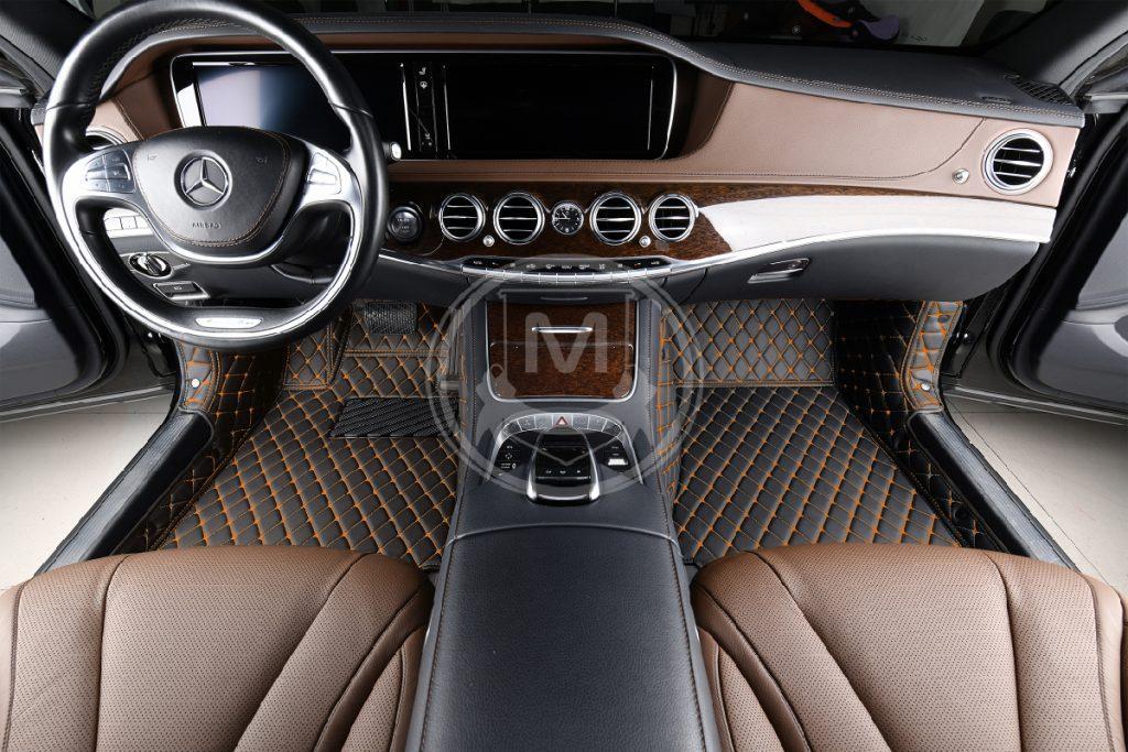 Black with Orange Luxury Custom Car Floor Mats 5