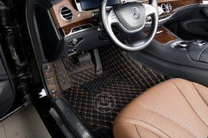Black with Orange Luxury Custom Car Floor Mats 6
