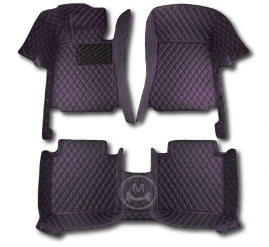 Black with Purple Luxury Custom Car Floor Mats