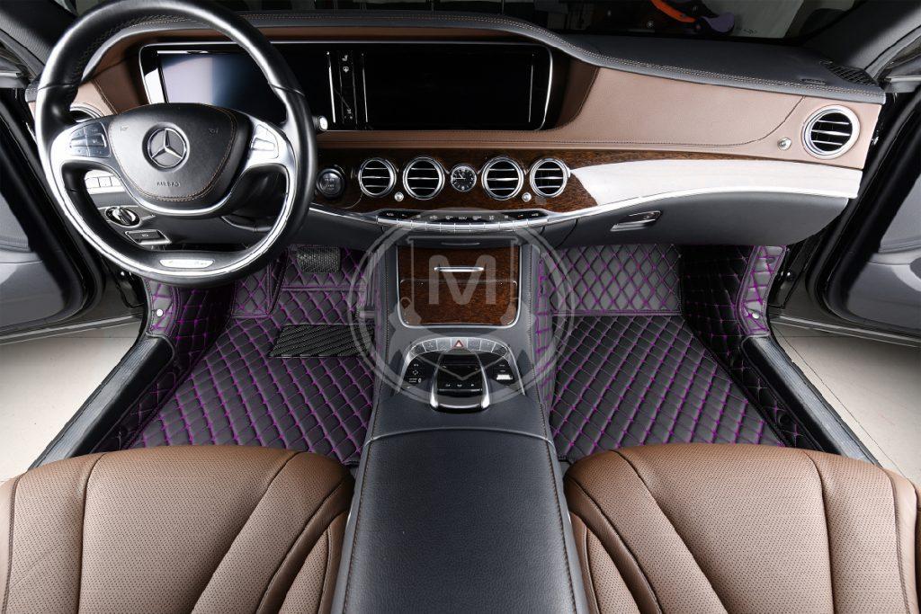 Black with Purple Luxury Custom Car Floor Mats 5